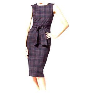 New York and Company tie front midi sheath dress